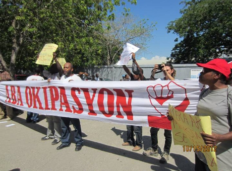 A protest held at the UN Logistics Base in Haiti on Oct. 15, 2012. Photo by Marty Goodman/Socialist Action