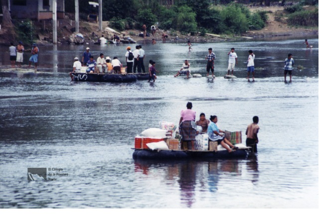 People crossing Suchiate River.