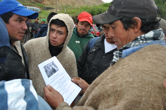 Famers and laborers protesting in Colombia gather to read an official statement.