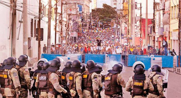 Barricades at a demonstration in Salvador in late June. Photo courtesy of Crimethinc.