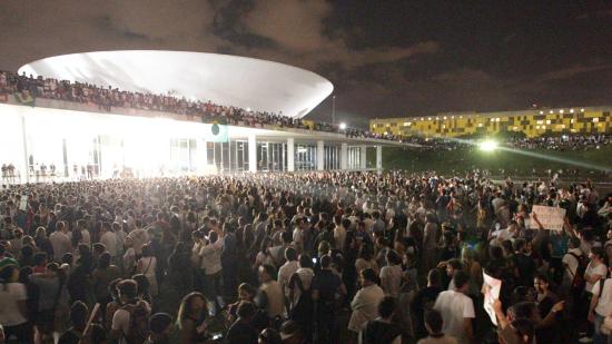 Crowds surround the Senate and Congress in Brasilia. Photo courtesy of CrimethInc.