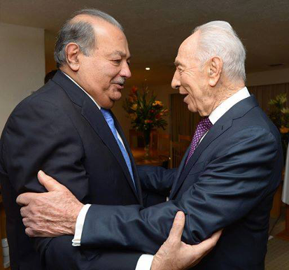 Shimon Peres Meets Carlos Slim in Mexico.