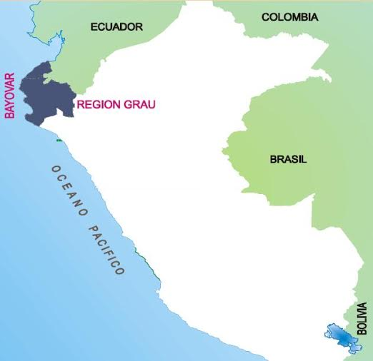 Map 1. The Sechura Bay, where the Bayóvar mine is exploited, in Piura region, northern Peru.