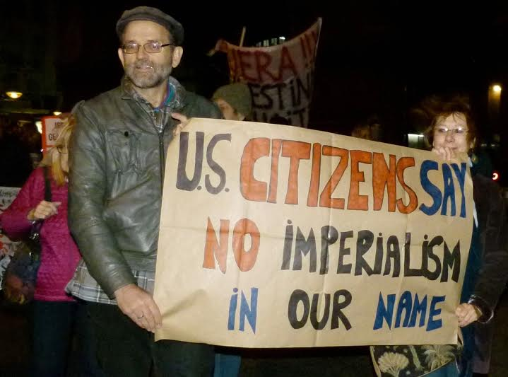 Delegation leader Andres Conteris and Janice Sevre-Duszynska join demostration at invitation of Uruguayan activists