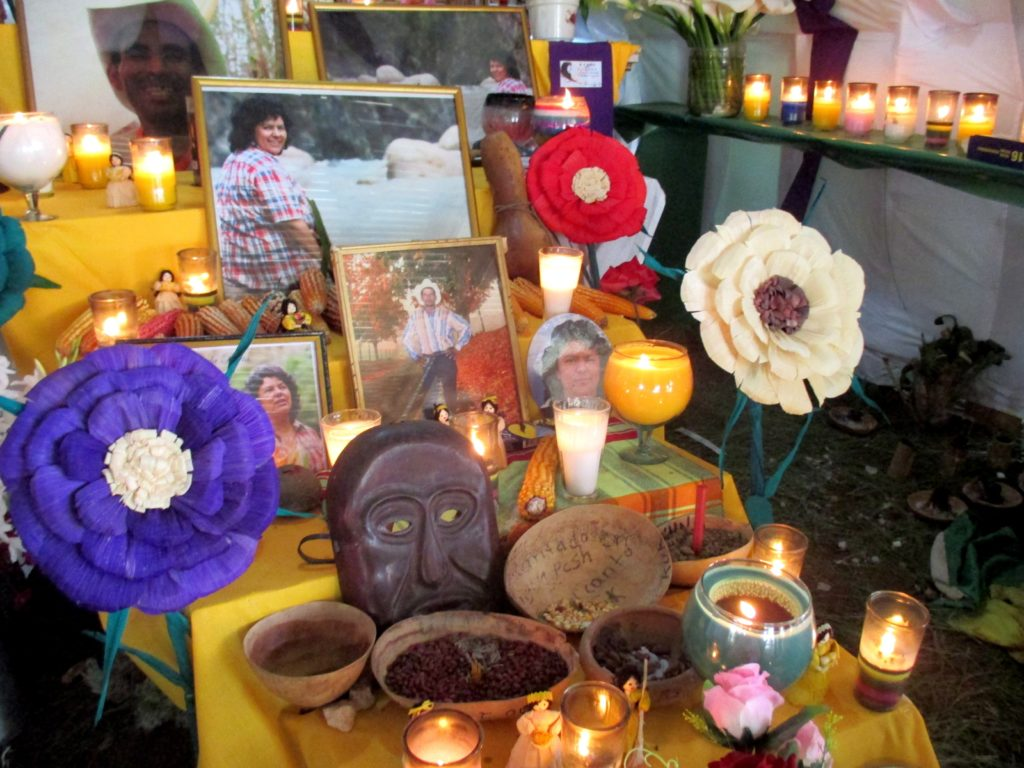 An altar was set up outside Utopia for the one-year anniversary of Berta Cáceres' murder.