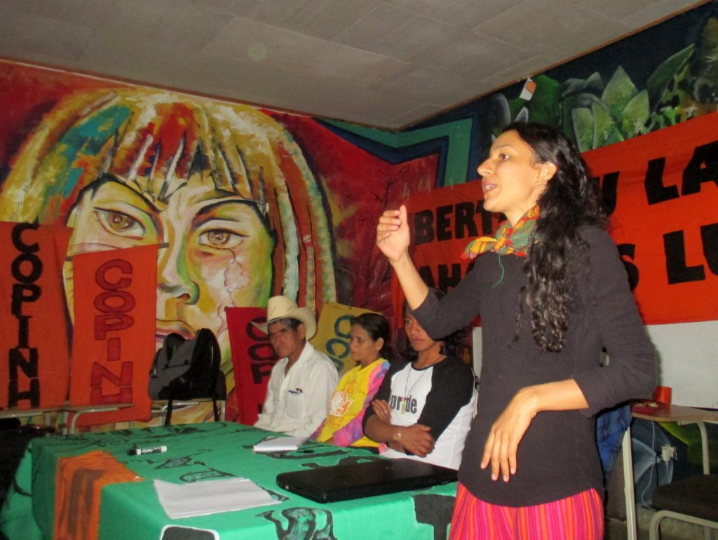 At a March 3 forum in La Esperanza, Berta Cáceres' daughter Bertita Zúñiga Cáceres spoke of growing up alongside COPINH.